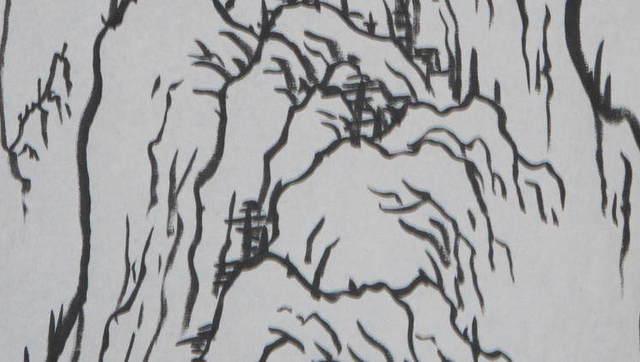 《国画养生》画山起手法19:三尺立轴勾线浏览