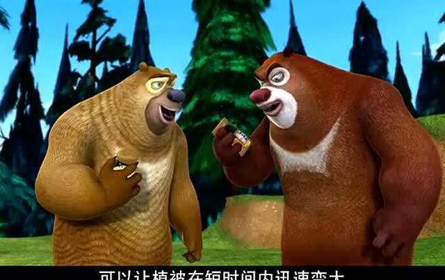 《催长剂》熊大,熊二发现催长剂,小树苗转眼变成苍天大树!