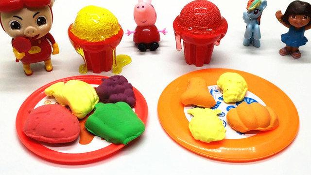 小马宝莉彩泥手工制作冰淇淋 蔬菜水果切切看