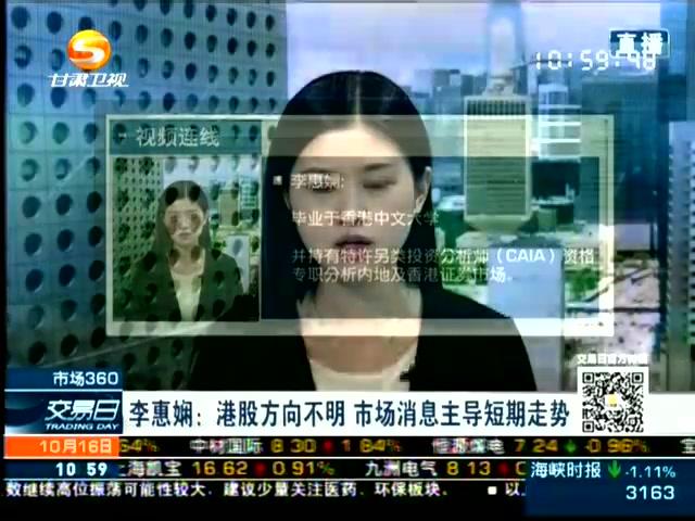 20141016李惠娴﹕港股方向不明 市场消息主导走势截图
