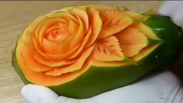木瓜雕刻,美食也能变得很艺术