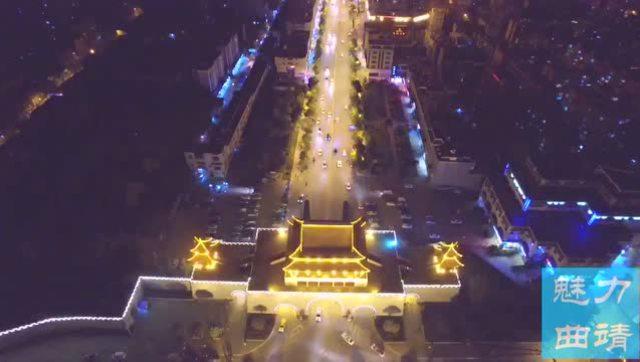 青岛栈桥夜景航拍
