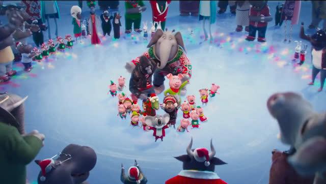 动物冰上派对狂欢迎圣诞