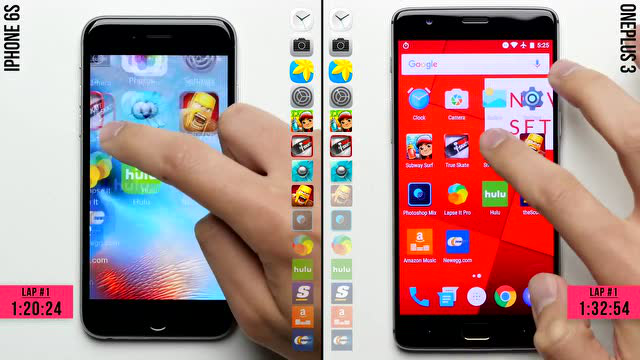 iPhone 6S与一加3运行速度对比测试