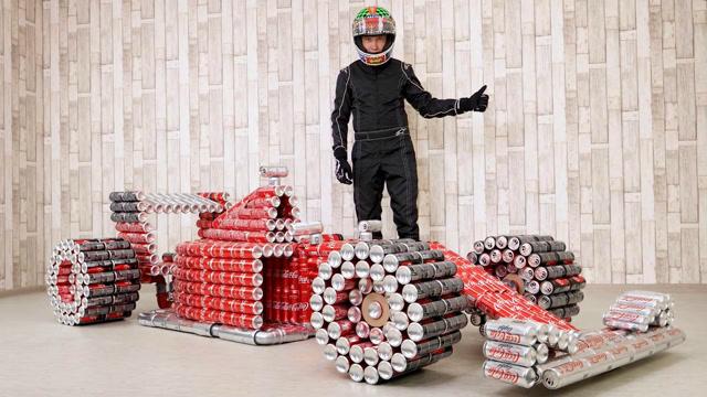 動手能力超強!用可樂罐制作一輛F1賽車