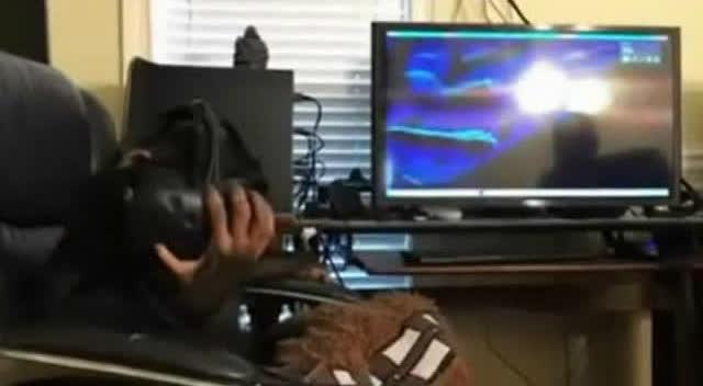 黑猩猩玩HTC Vive 表情如痴如醉