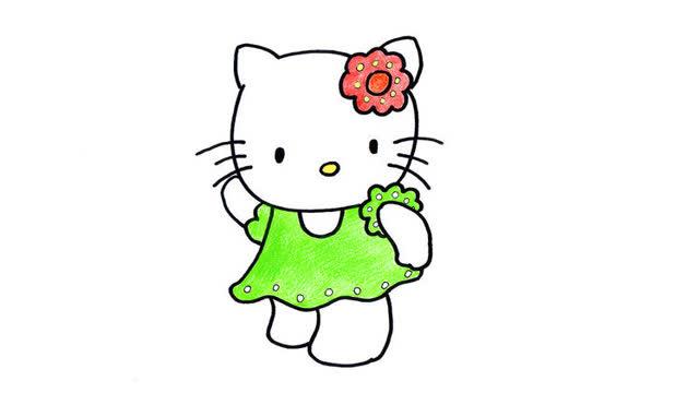 hello kitty猫挑灯笼简笔画图片