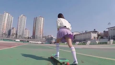 韩国滑板女神日常,美美哒