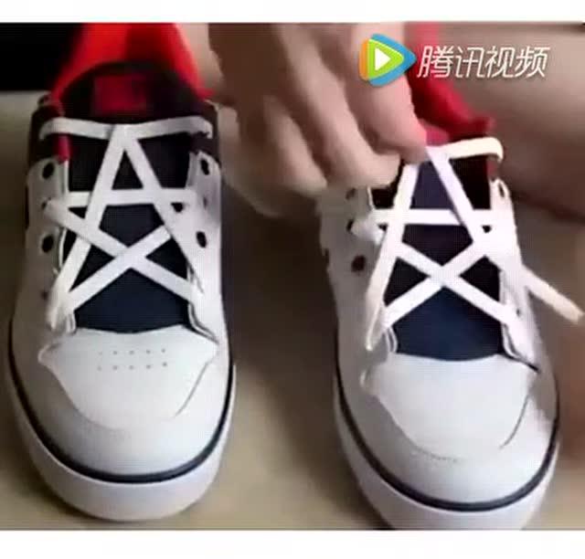 五角星鞋带系法!速速get逼格提起来!图片