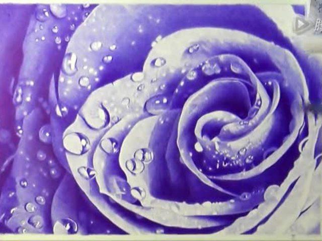 圆珠笔画:蓝色妖姬