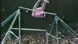 毁三观的高低杠表演 杠上芭蕾学猴子疼并搞笑着