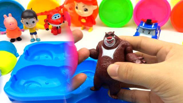 培乐多粘土diy超萌的动物雪糕 猪猪侠超级飞侠熊大警车珀利参与