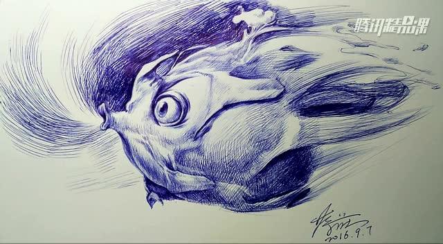 创意圆珠笔画:会飞的火龙果图片