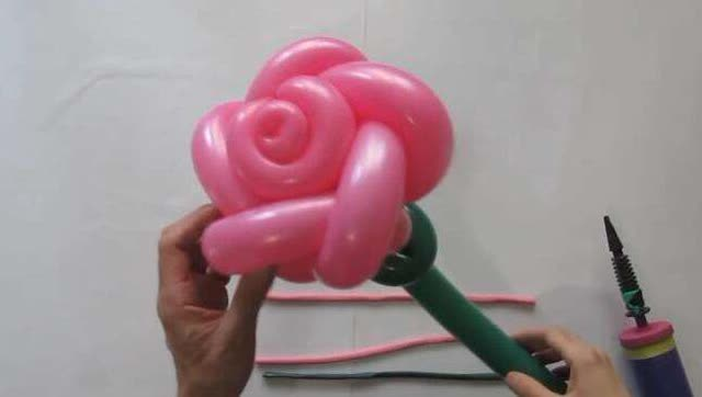 """气球造型""""玫瑰花""""长条气球花26种编法气球造型教程!"""
