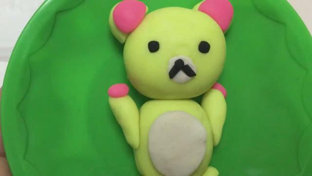 80玩具视频 橡皮泥手工制作白色轻松熊 亲子游戏