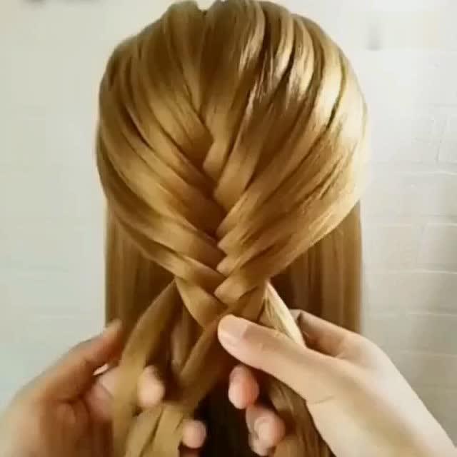 超美仙女扣鱼骨辫瀑布流 简单编发教程 - 腾讯视频