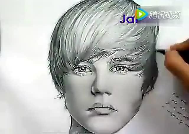 自动铅笔画贾斯丁比伯 justin bieber素描