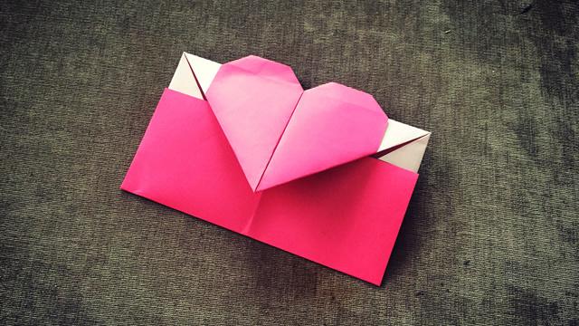 第224期 书信折纸:爱心信封折纸视频教程
