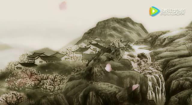 水墨花瓣山水山峦云雾桃花林瀑布视频素材背景