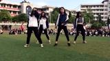 帅!女高中生在学校操场跳hiphop街舞