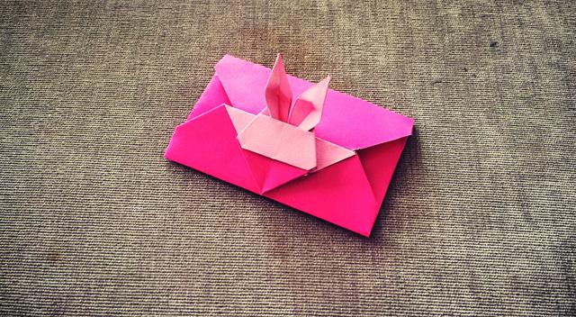 手工折纸:小兔子信封折纸教学视频