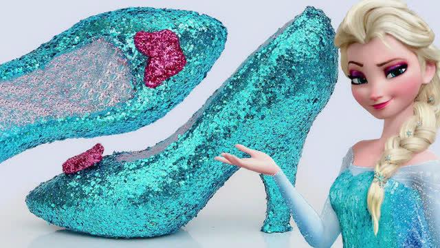 彩泥粘土橡皮泥diy手工制作艾莎公主闪光高跟鞋与