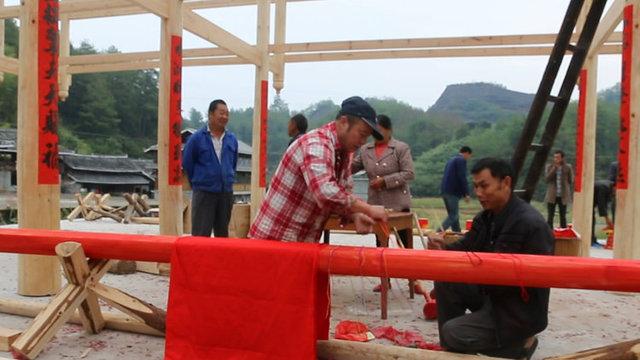 农村新建木房神秘的上梁过程全程揭秘 湖南通道侗族