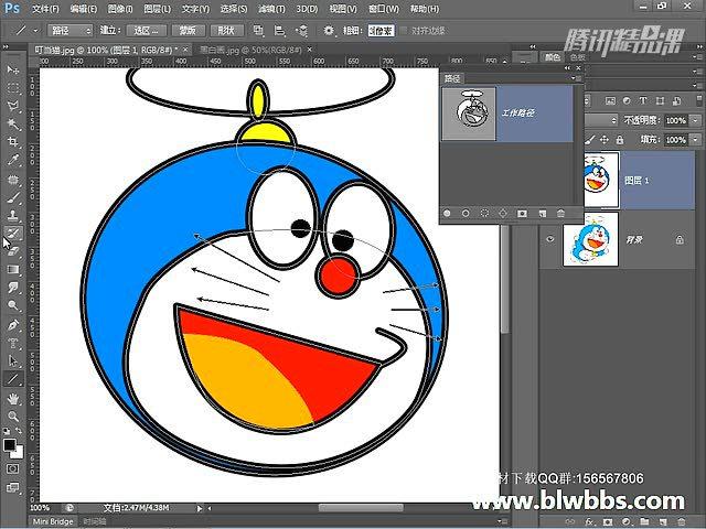 ps教程视频第42期:绘制叮当猫卡通画