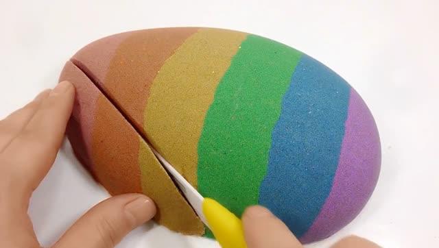 创意手工diy制作彩虹砂蛋,这一刀切下去真有点舍不得!
