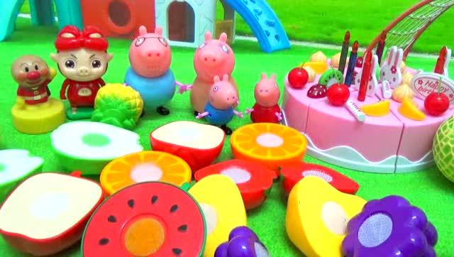 粉红猪小妹小猪佩奇之水果蛋糕过生日超级飞侠过家家 水果切切乐图片