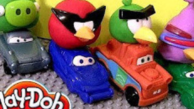 小花蛋蛋玩具011用橡皮泥做小车扮装汽车闪电麦昆愤怒的小鸟