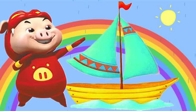 彩色小帆船 diy制作过程猪猪侠面包超人芭比娃娃