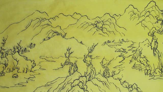 国画山水线描技法:王维江干雪霁图浏览