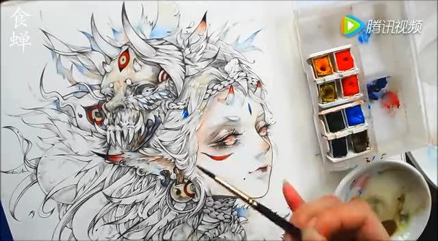 【食蝉】手绘水彩上色过程(11)