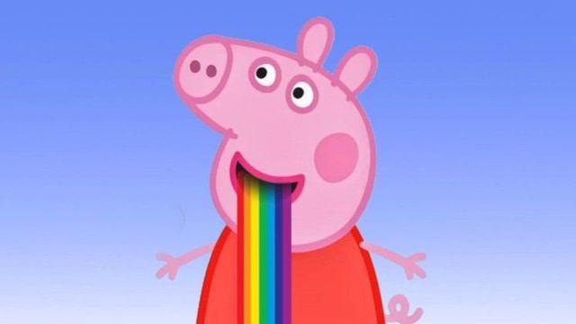 小猪佩奇口吐彩虹图片