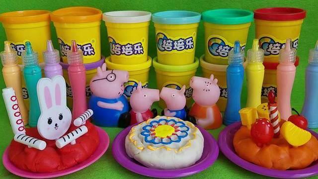 小猪佩奇制作水果奶油生日蛋糕过家家玩具图片