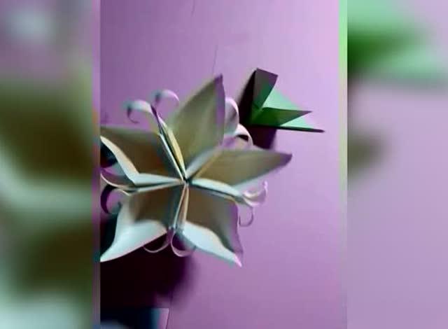 儿童手工折纸教程:卷纸花折纸视频教学