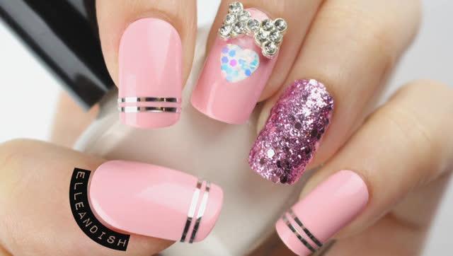 粉色系美甲教程,可爱蝴蝶结加亮片更赞哦