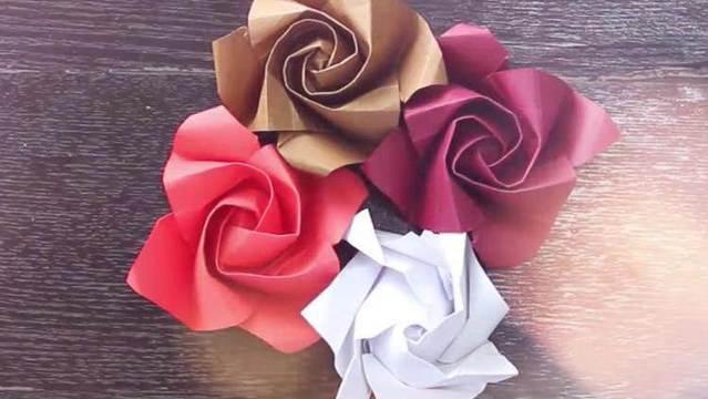淘趣工坊手工diy折纸:玫瑰花