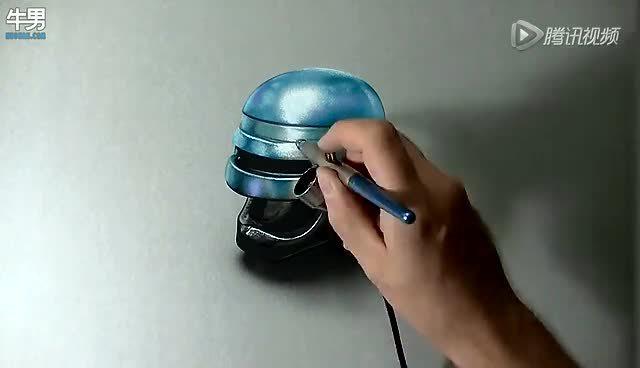 超真实手绘艺术 机械战警头盔