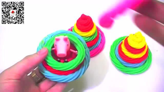 小红蛋蛋玩具:橡皮泥做彩虹冰沙给佩奇小猪吃