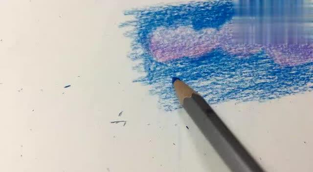 彩铅风景绘画彩霞云彩的画法