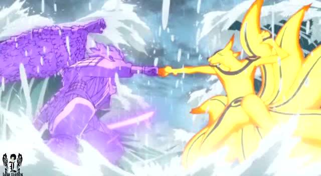 鸣人vs佐助 紫色vs金色!