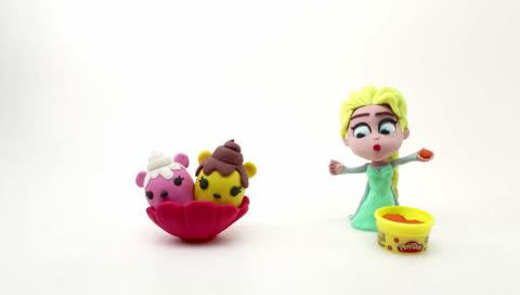 橡皮泥动画片!创意diy艾莎公主派大星海绵宝宝视频