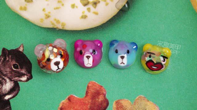 【你求窝教-第285期】可爱diy雕花模立体小熊美甲