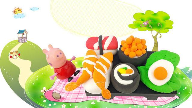 粉紅豬小妹diy超美味壽司套餐 超輕粘土手工制作食玩玩具教程圖片