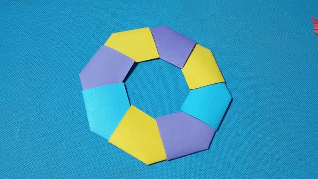 折紙王子教你折紙彩環 兒童折紙大全視頻教程