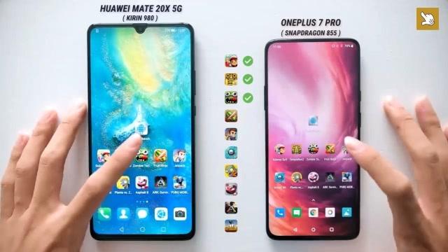 华为Mate 20X 5G版与一加7 Pro运行速度对比测试